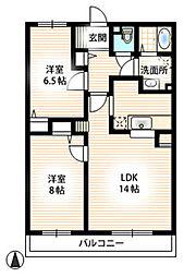 サンパティークII[4階]の間取り