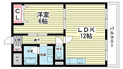 大阪府豊中市長興寺北2丁目の賃貸マンションの間取り