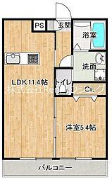 JR牟岐線 二軒屋駅 徒歩9分の賃貸マンション 3階1LDKの間取り