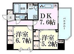 D-room Futaba 5階2DKの間取り