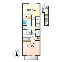 岡山県倉敷市中畝7の賃貸アパートの間取り