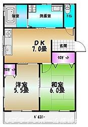 武知マンション5[1階]の間取り