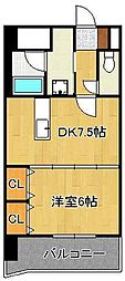 JR鹿児島本線 黒崎駅 徒歩7分の賃貸マンション 3階1DKの間取り