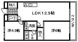アヴニール久米田[402号室]の間取り