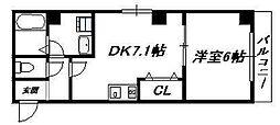 大阪府大阪市生野区鶴橋2丁目の賃貸マンションの間取り