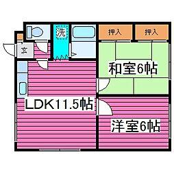北海道札幌市手稲区手稲本町三条4丁目の賃貸アパートの間取り