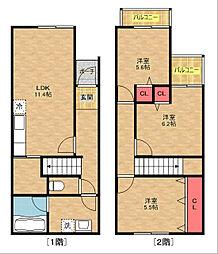 [タウンハウス] 大阪府大阪市住之江区新北島6丁目 の賃貸【/】の間取り