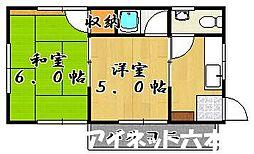 福岡県福岡市城南区友丘4丁目の賃貸アパートの間取り