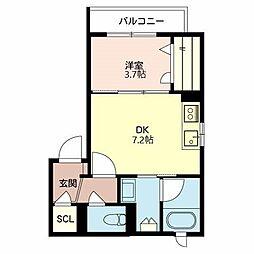 阪急神戸本線 神崎川駅 徒歩21分の賃貸アパート 1階1DKの間取り