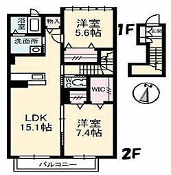 愛媛県松山市和泉南2丁目の賃貸アパートの間取り