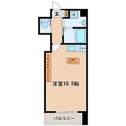 HF西公園レジデンス 7階ワンルームの間取り