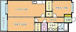 カントリー祇園[2階]の間取り