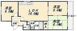 大阪府大阪市阿倍野区天王寺町南1丁目の賃貸マンションの間取り