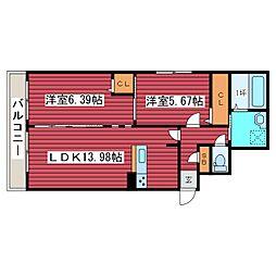 Domeside福住[3階]の間取り