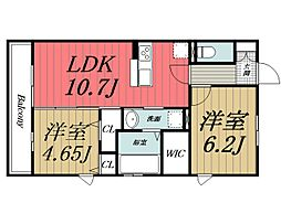 千葉県四街道市もねの里1丁目の賃貸アパートの間取り