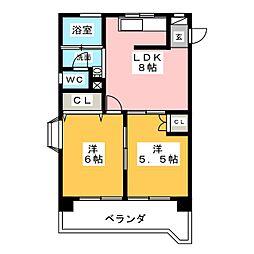 第2ロジィングス天野屋[2階]の間取り