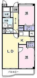 埼玉県草加市小山2丁目の賃貸マンションの間取り