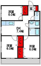福岡県宗像市三郎丸5丁目の賃貸マンションの間取り