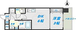 Osaka Metro千日前線 北巽駅 徒歩9分の賃貸マンション 12階1DKの間取り