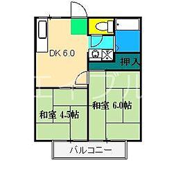 北川ハイツI[2階]の間取り