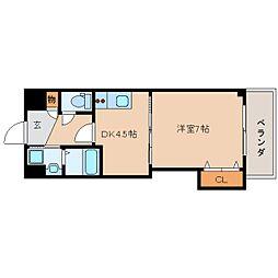 近鉄大阪線 五位堂駅 徒歩5分の賃貸マンション 2階1DKの間取り