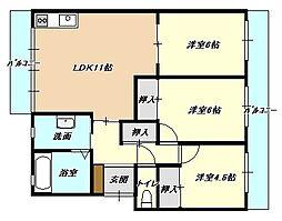 福岡県北九州市小倉北区寿山町の賃貸マンションの間取り