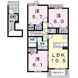 神奈川県川崎市麻生区下麻生3丁目の賃貸アパートの間取り