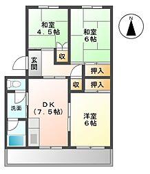 愛知県豊明市新田町子持松の賃貸マンションの間取り