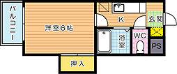 シャトレ戸ノ上Ⅱ[3階]の間取り