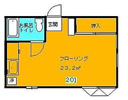 長谷川ハイツ[201号室]の間取り