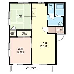 ハウス パインカウンティー B[2階]の間取り