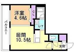 Umris HIRAGISHI 2階1LDKの間取り