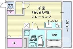 メリディアン鶴ケ谷 3階ワンルームの間取り