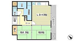 クリーンピア西二階町[303号室]の間取り