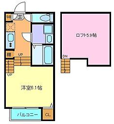 JR仙石線 小鶴新田駅 徒歩9分の賃貸アパート 2階1Kの間取り
