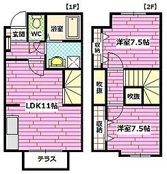 [テラスハウス] 広島県広島市安佐南区上安6丁目 の賃貸【/】の間取り
