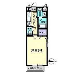 LST Okadai South 4階1Kの間取り