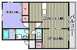 グランミールB棟[2階]の間取り