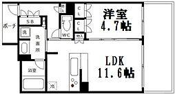 ロジュマンタワー梅田[2階]の間取り