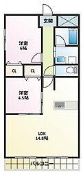 ECO NISHIFUTAMI[2階]の間取り