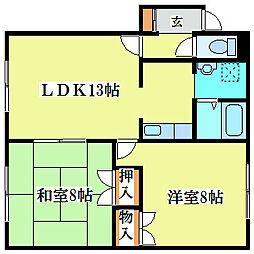 イシオカマンション1[4階]の間取り