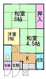 第一弁天荘[1号室]の間取り