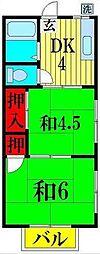 埼玉県越谷市花田1の賃貸アパートの間取り