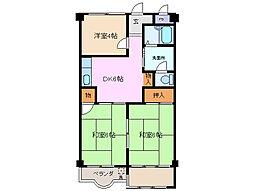 シャトー浜田[3階]の間取り