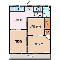 コーポ大井手[2階]の間取り