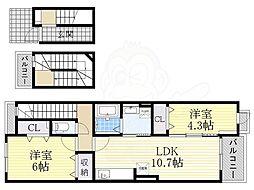 近鉄大阪線 恩智駅 徒歩9分の賃貸アパート 3階2LDKの間取り