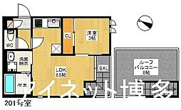 JR鹿児島本線 箱崎駅 徒歩10分の賃貸アパート 2階1LDKの間取り