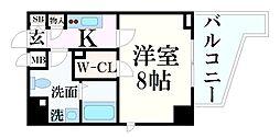 JR東海道・山陽本線 灘駅 徒歩2分の賃貸マンション 7階1Kの間取り