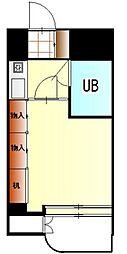 JR中央線 国立駅 徒歩12分の賃貸マンション 1階1Kの間取り