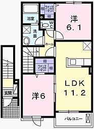 ルナソルA[2階]の間取り